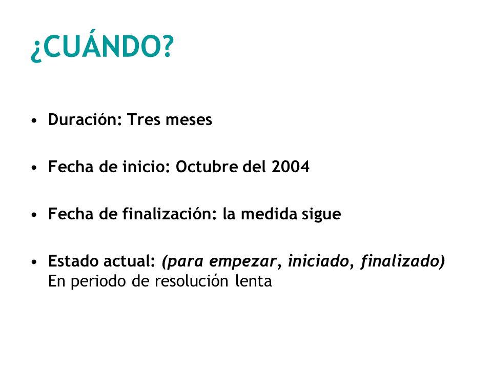 ¿CUÁNDO Duración: Tres meses Fecha de inicio: Octubre del 2004
