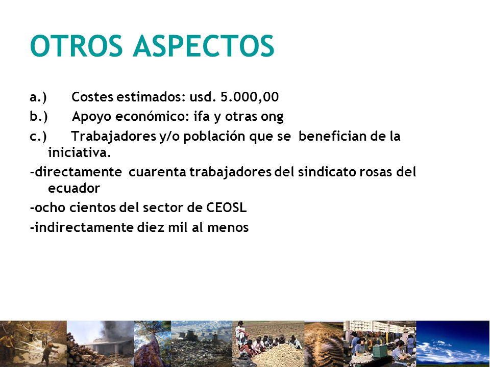 OTROS ASPECTOS a.) Costes estimados: usd. 5.000,00