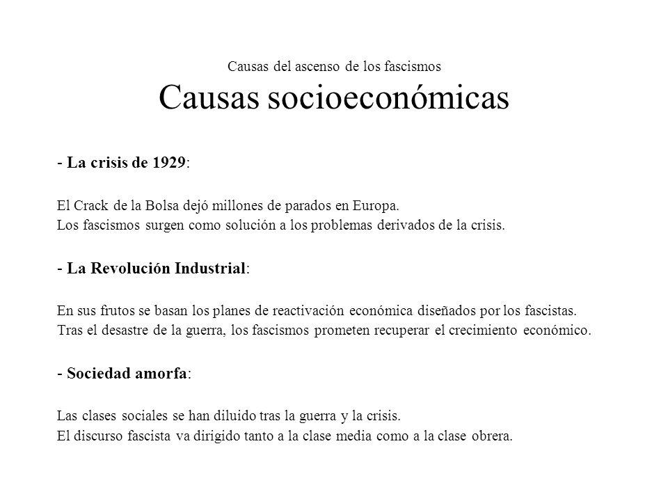 Causas del ascenso de los fascismos Causas socioeconómicas