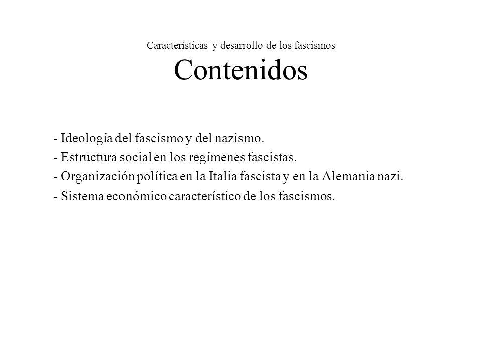 Características y desarrollo de los fascismos Contenidos