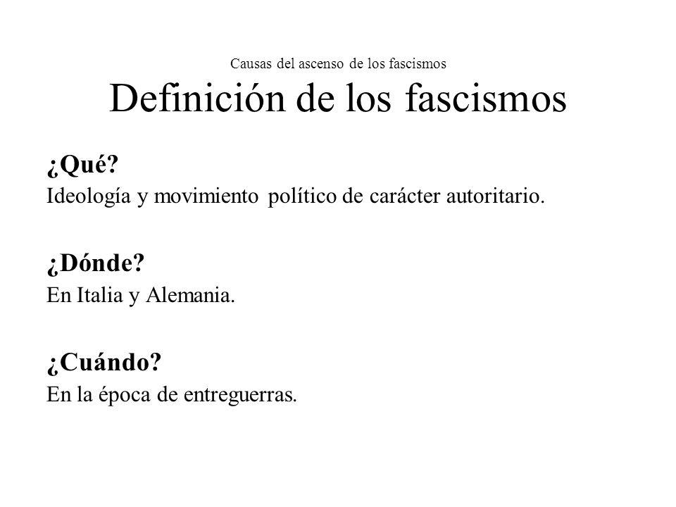 Causas del ascenso de los fascismos Definición de los fascismos