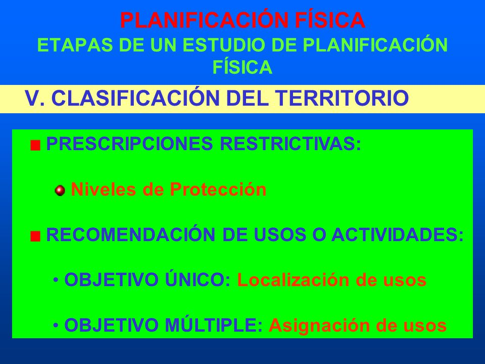 PLANIFICACIÓN FÍSICA ETAPAS DE UN ESTUDIO DE PLANIFICACIÓN FÍSICA