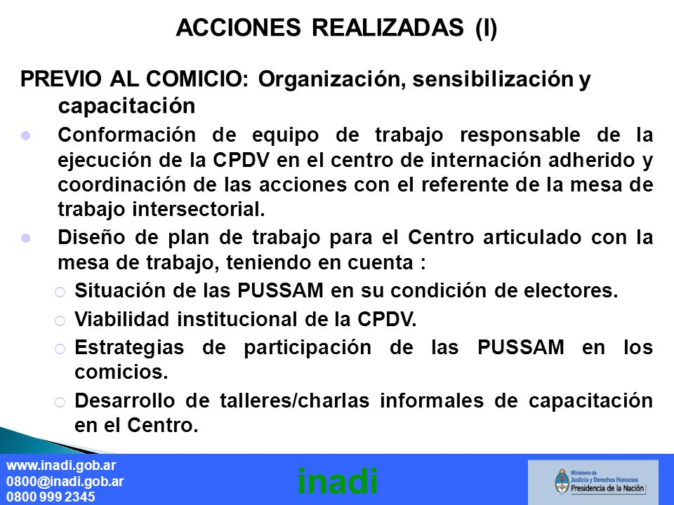ACCIONES REALIZADAS (I)