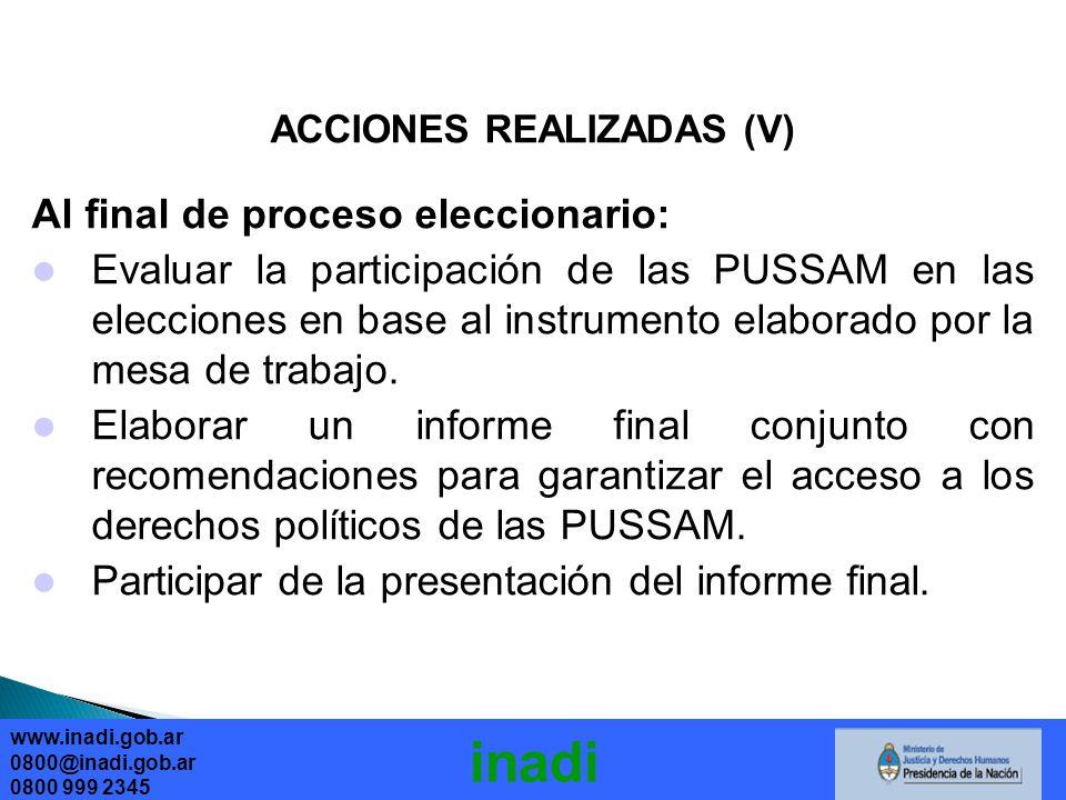 ACCIONES REALIZADAS (V)