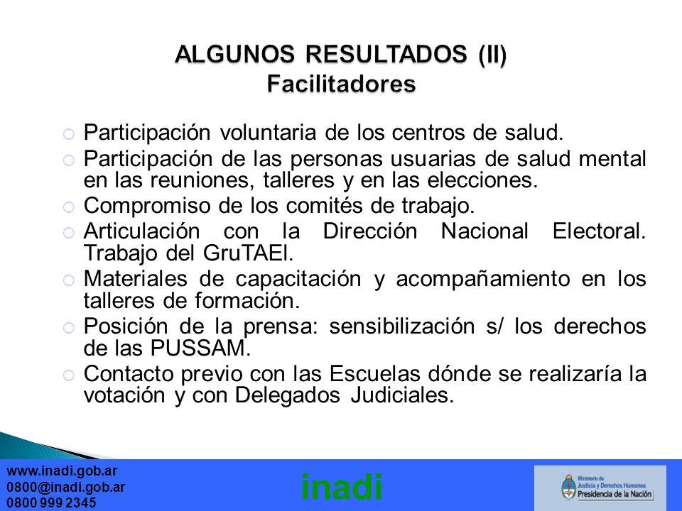 ALGUNOS RESULTADOS (II) Facilitadores