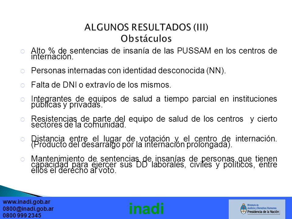 ALGUNOS RESULTADOS (III) Obstáculos