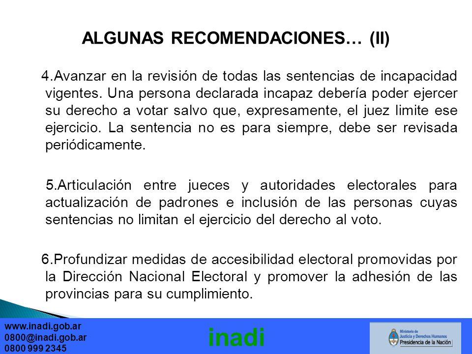 ALGUNAS RECOMENDACIONES… (II)