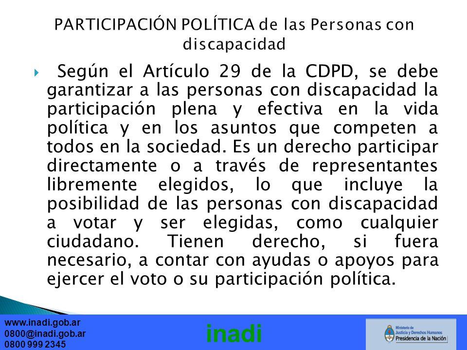PARTICIPACIÓN POLÍTICA de las Personas con discapacidad