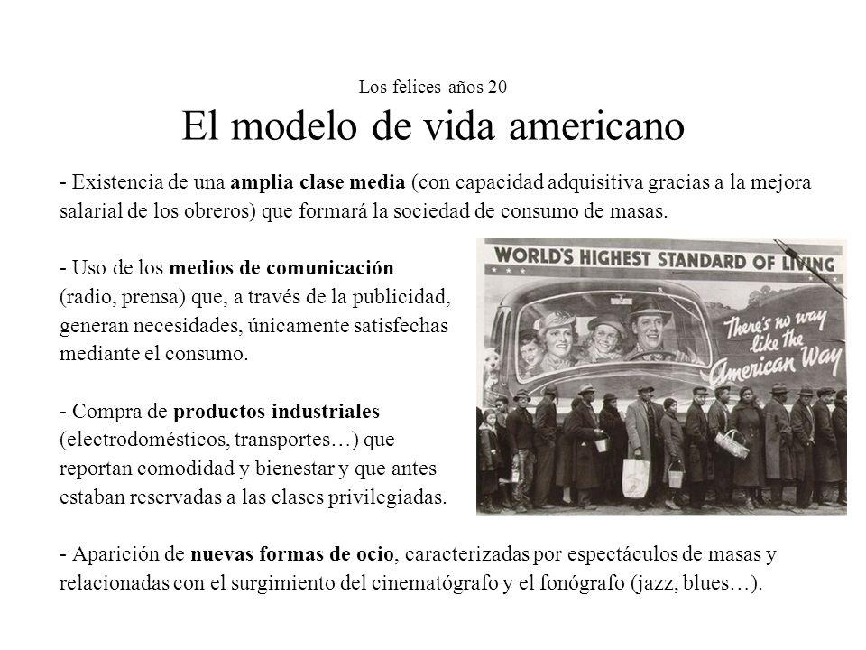Los felices años 20 El modelo de vida americano