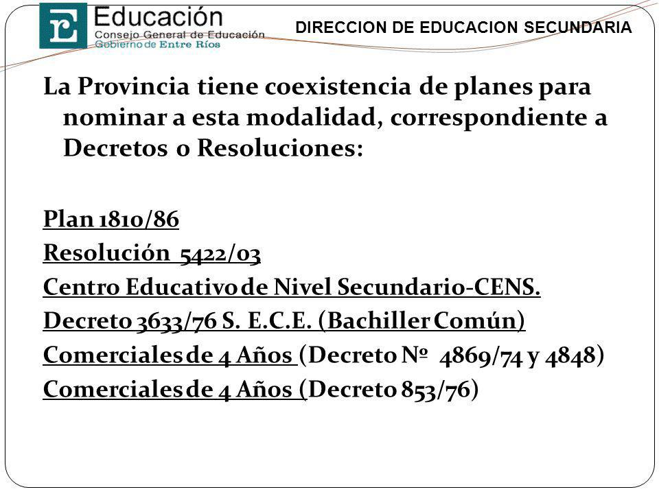 La Provincia tiene coexistencia de planes para nominar a esta modalidad, correspondiente a Decretos 0 Resoluciones: