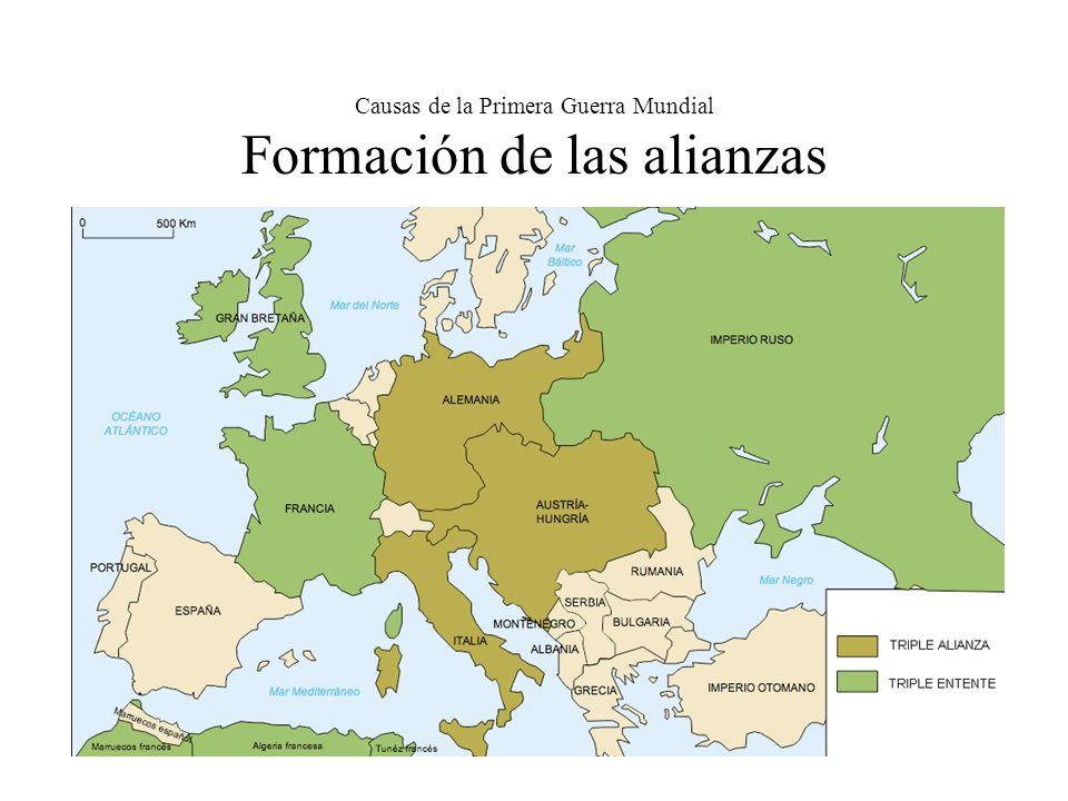 Causas de la Primera Guerra Mundial Formación de las alianzas