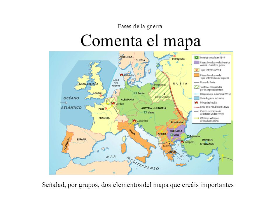 Fases de la guerra Comenta el mapa