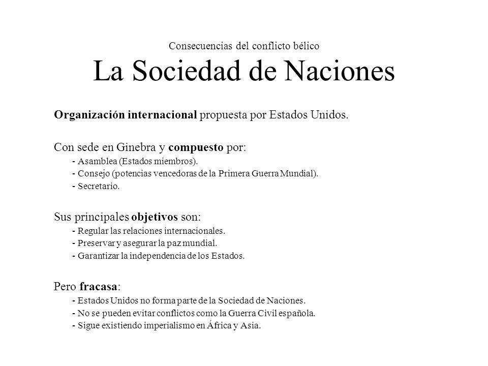 Consecuencias del conflicto bélico La Sociedad de Naciones