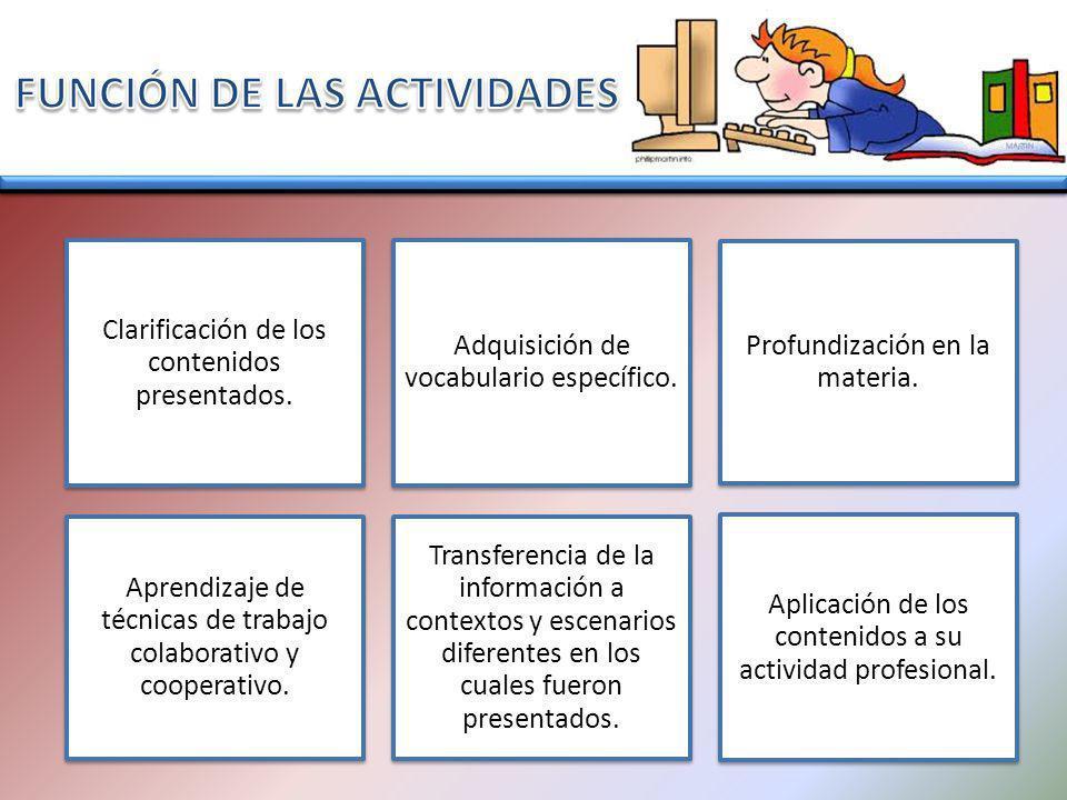 FUNCIÓN DE LAS ACTIVIDADES