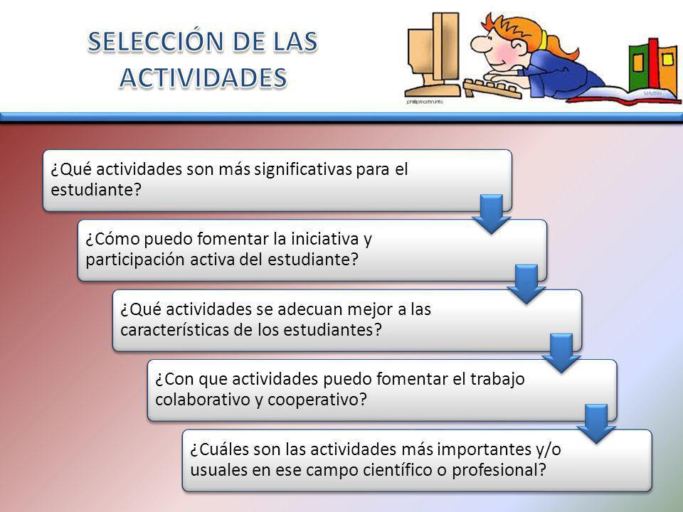 SELECCIÓN DE LAS ACTIVIDADES