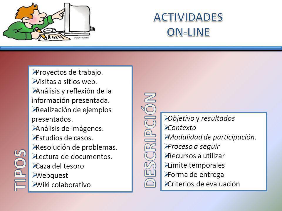 DESCRIPCIÓN TIPOS ACTIVIDADES ON-LINE Proyectos de trabajo.