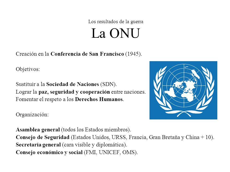 Los resultados de la guerra La ONU