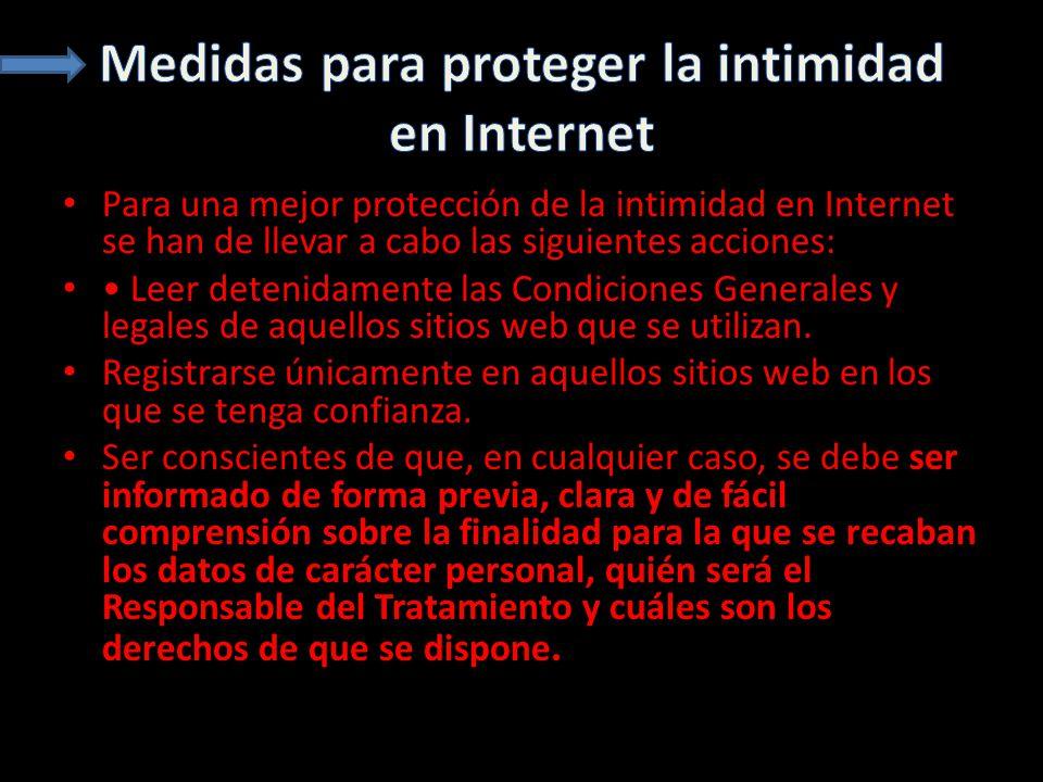 Medidas para proteger la intimidad en Internet