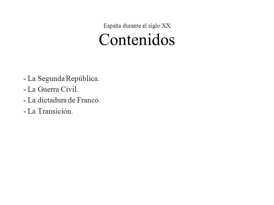 España durante el siglo XX Contenidos