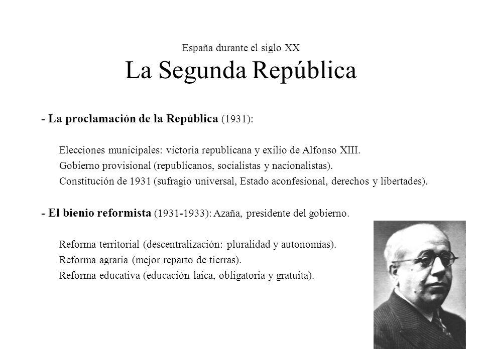 España durante el siglo XX La Segunda República
