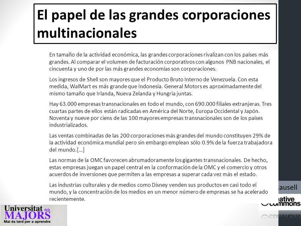 El papel de las grandes corporaciones multinacionales