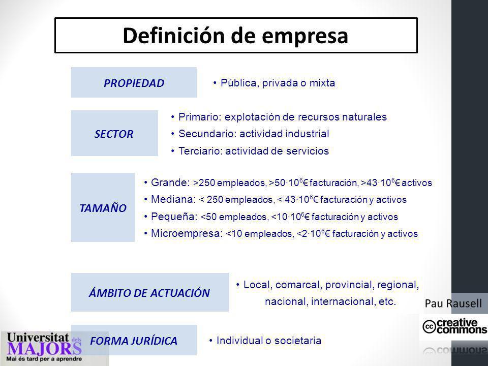Definición de empresa PROPIEDAD SECTOR TAMAÑO ÁMBITO DE ACTUACIÓN