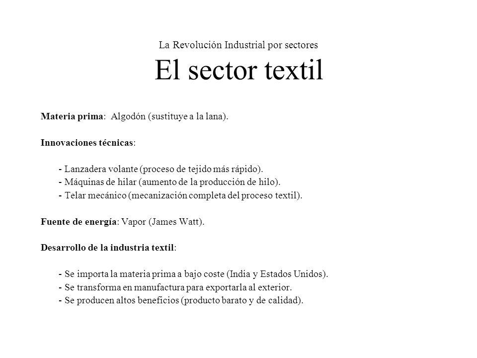 La Revolución Industrial por sectores El sector textil