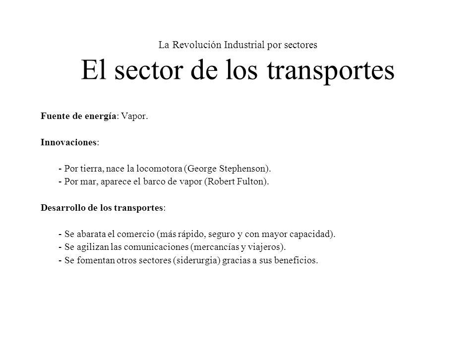 La Revolución Industrial por sectores El sector de los transportes