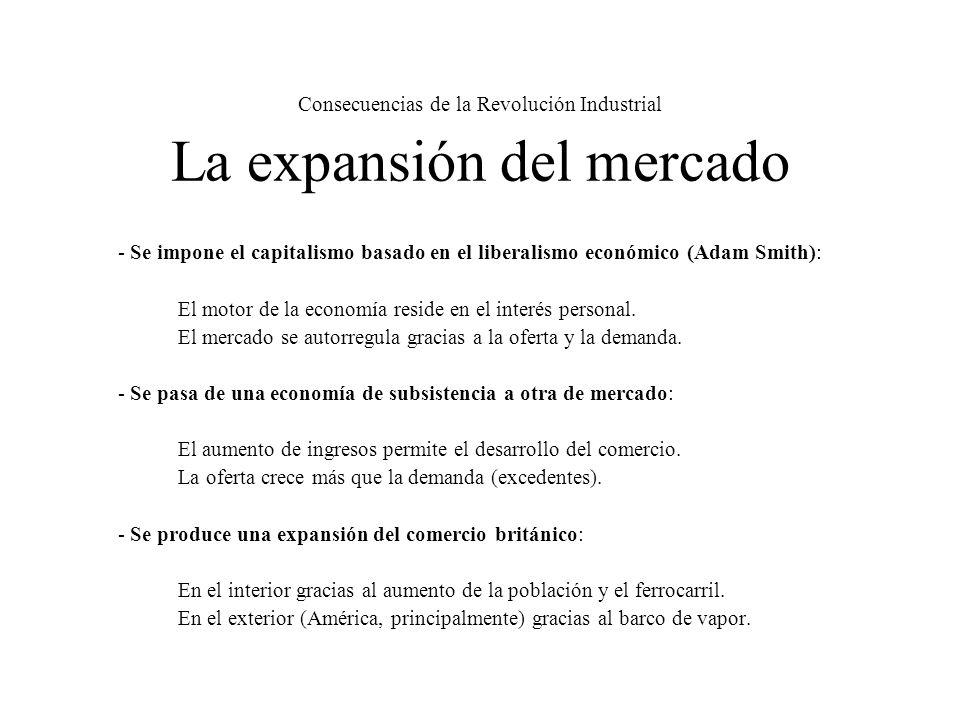 Consecuencias de la Revolución Industrial La expansión del mercado