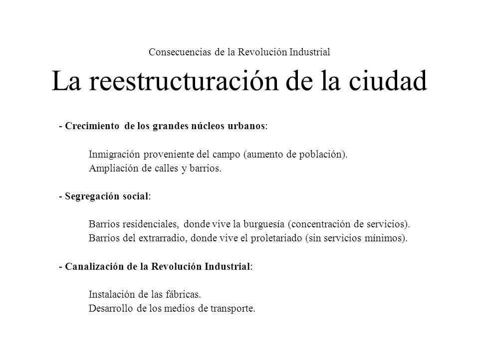 Consecuencias de la Revolución Industrial La reestructuración de la ciudad