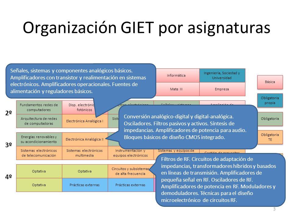 Organización GIET por asignaturas