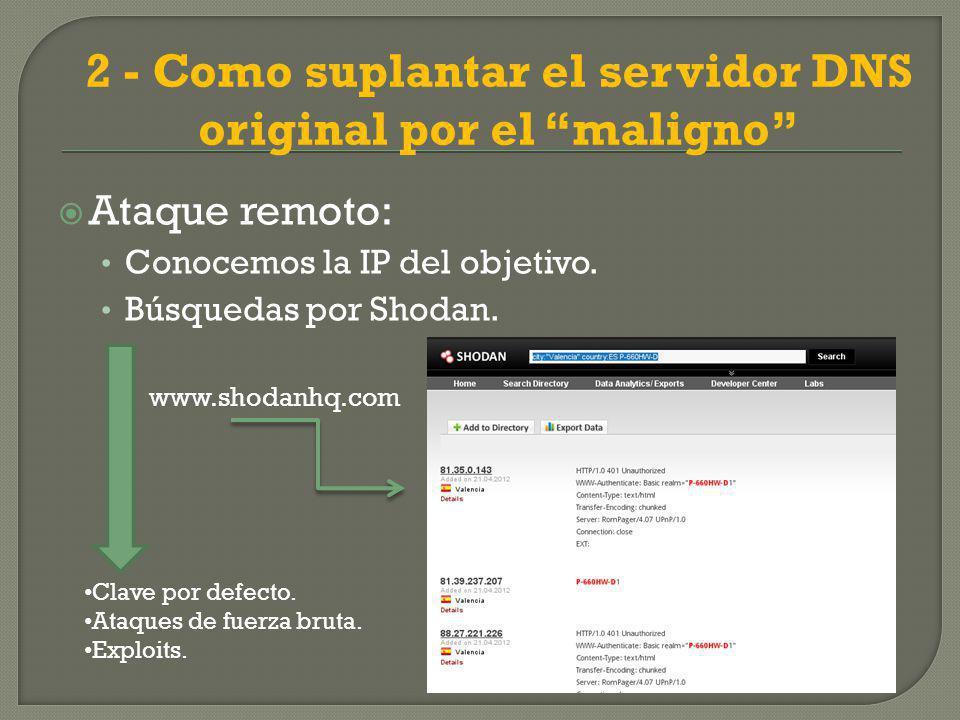2 - Como suplantar el servidor DNS original por el maligno