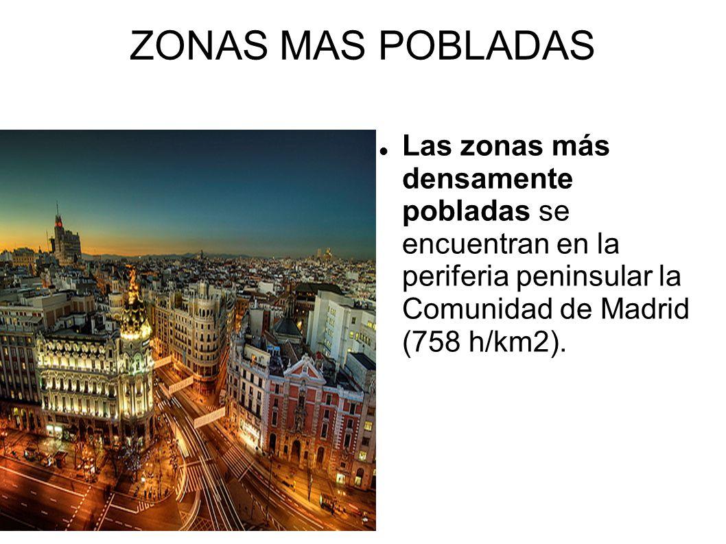 ZONAS MAS POBLADAS Las zonas más densamente pobladas se encuentran en la periferia peninsular la Comunidad de Madrid (758 h/km2).