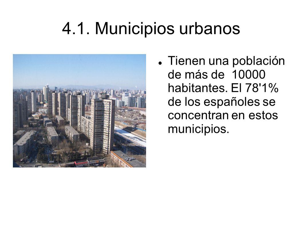 4.1.Municipios urbanosTienen una población de más de 10000 habitantes.