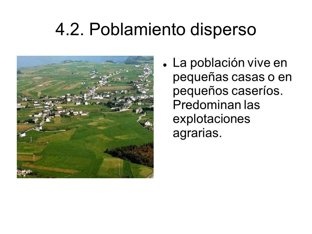 4.2. Poblamiento disperso La población vive en pequeñas casas o en pequeños caseríos.