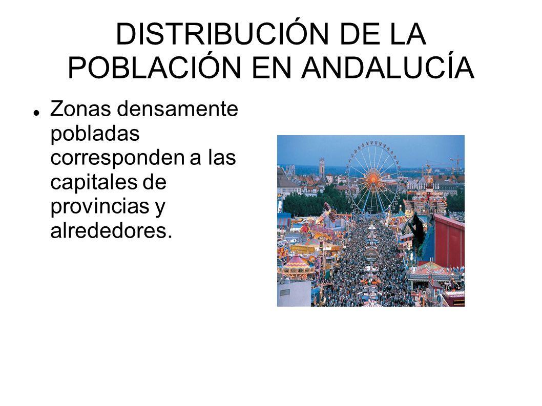 DISTRIBUCIÓN DE LA POBLACIÓN EN ANDALUCÍA