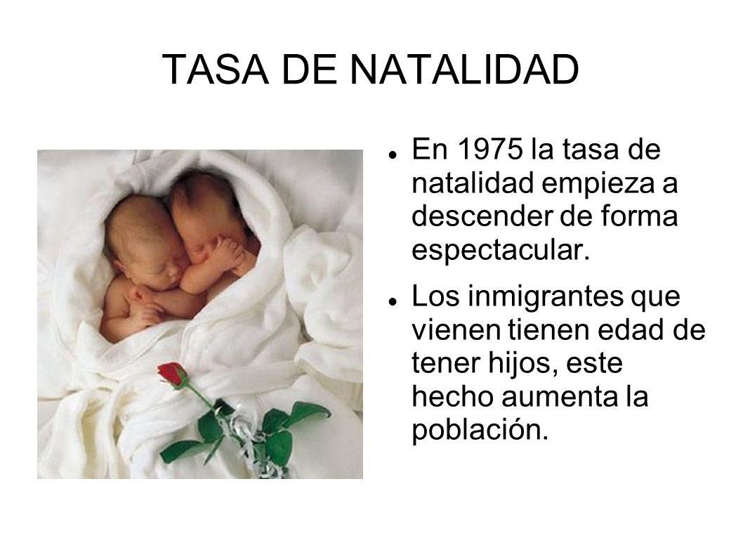 TASA DE NATALIDAD En 1975 la tasa de natalidad empieza a descender de forma espectacular.