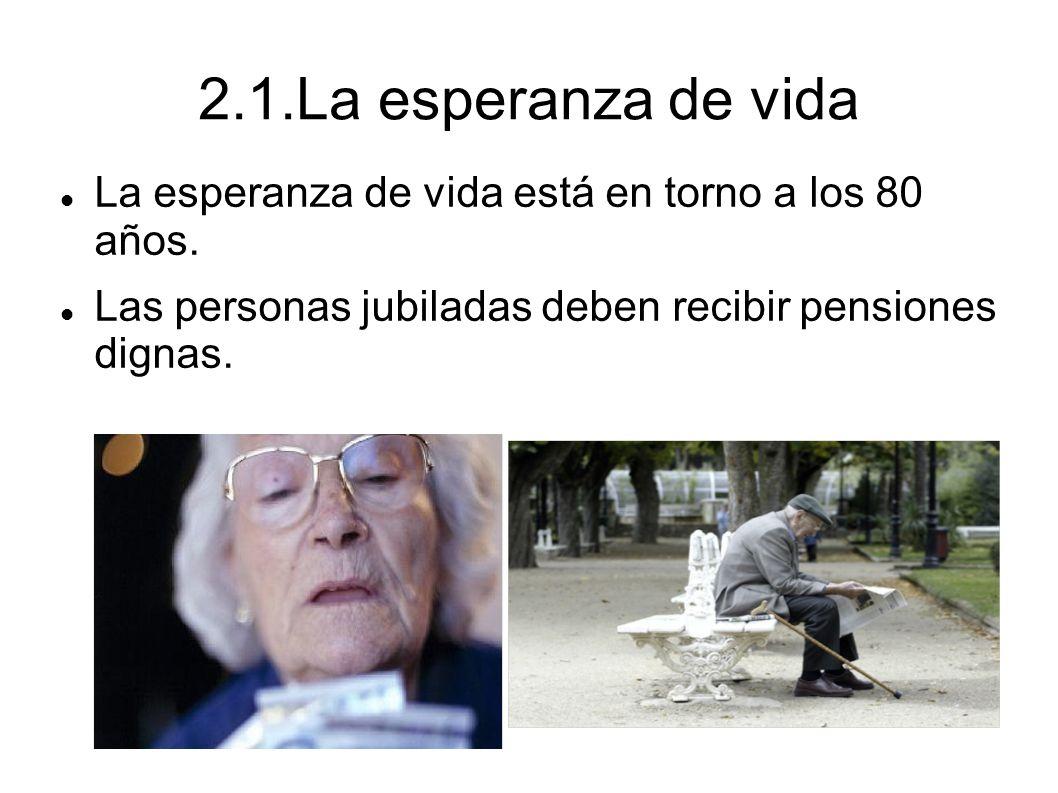 2.1.La esperanza de vida La esperanza de vida está en torno a los 80 años.