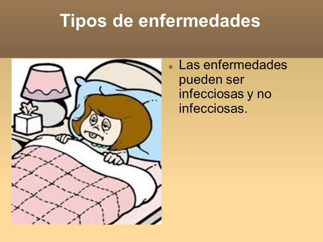 Tipos de enfermedades Las enfermedades pueden ser infecciosas y no infecciosas.