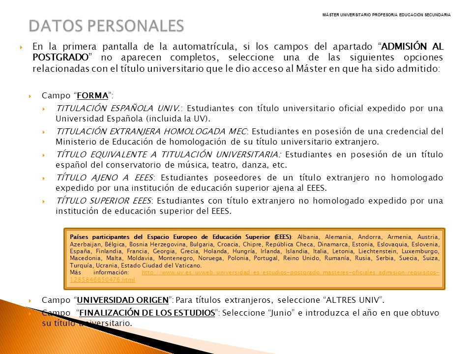 MÁSTER UNIVERSITARIO PROFESOR/A EDUCACIÓN SECUNDARIA