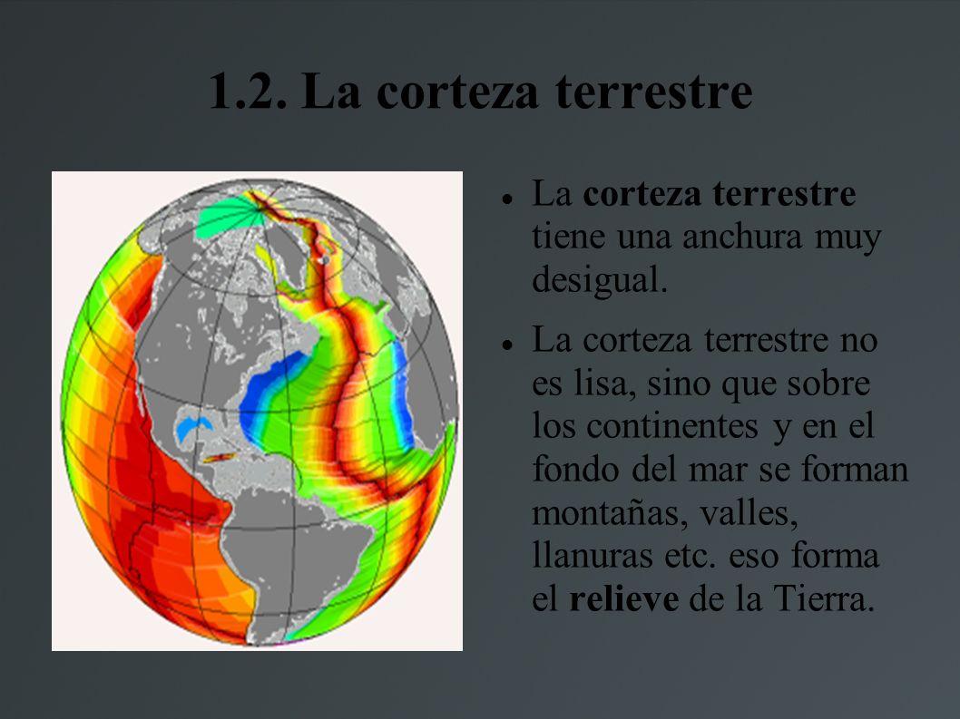 1.2. La corteza terrestreLa corteza terrestre tiene una anchura muy desigual.