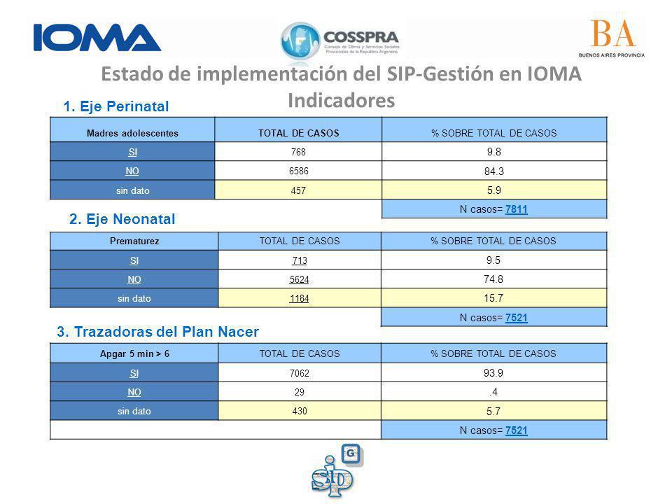 Estado de implementación del SIP-Gestión en IOMA Indicadores