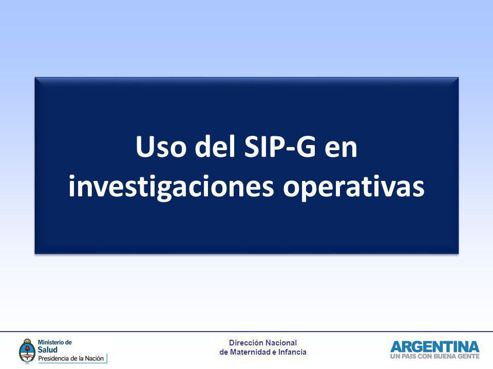 Uso del SIP-G en investigaciones operativas