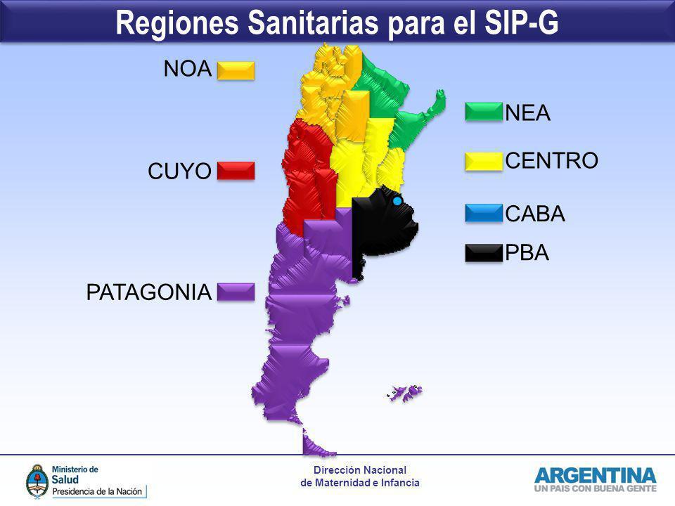 Regiones Sanitarias para el SIP-G
