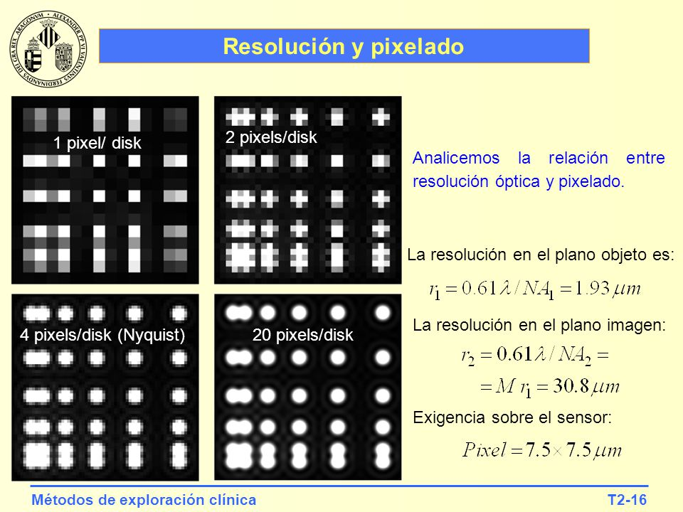Resolución y pixelado 2 pixels/disk 1 pixel/ disk