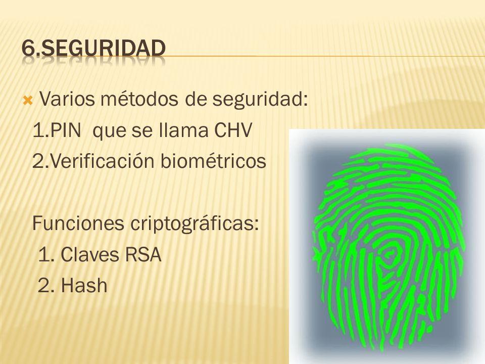 6.SEGURIDAD Varios métodos de seguridad: 1.PIN que se llama CHV