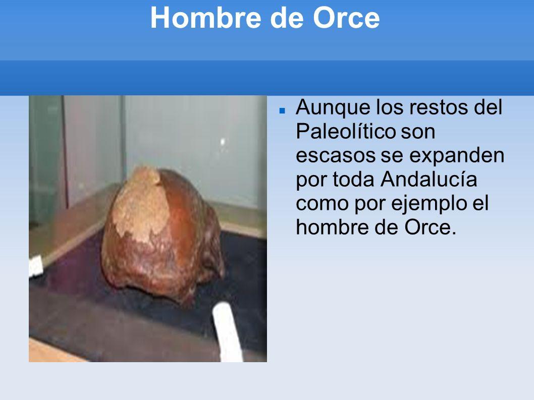 Hombre de Orce Aunque los restos del Paleolítico son escasos se expanden por toda Andalucía como por ejemplo el hombre de Orce.