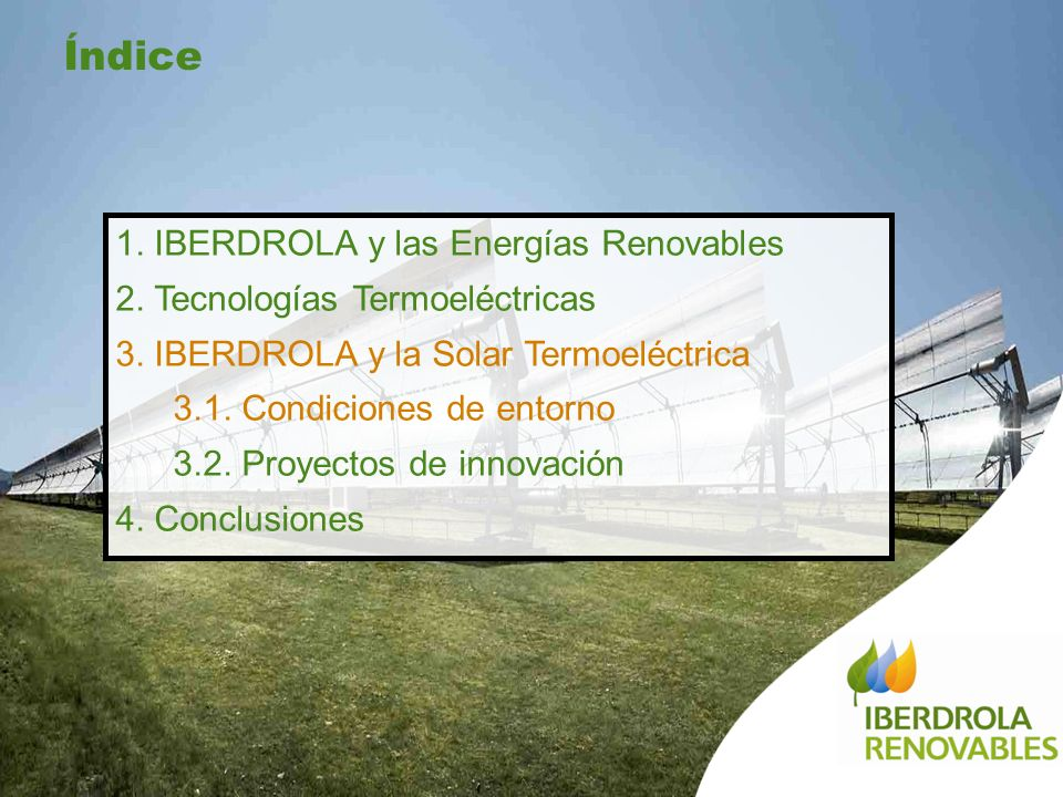 Índice 1. IBERDROLA y las Energías Renovables
