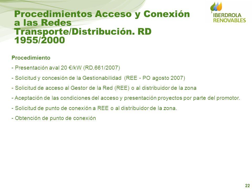 Procedimientos Acceso y Conexión a las Redes Transporte/Distribución
