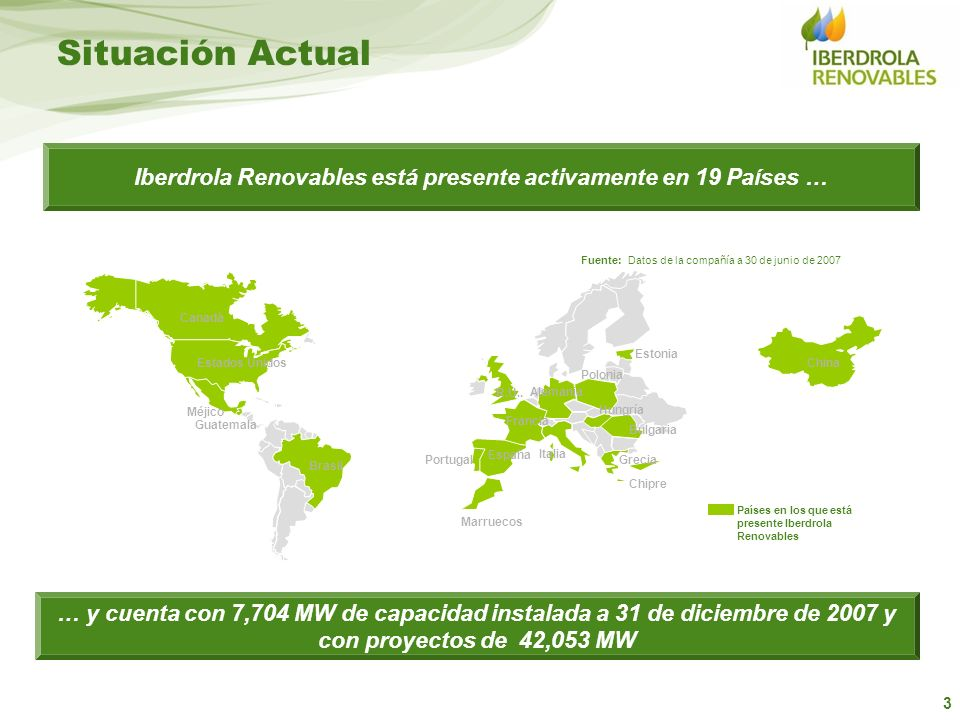 Iberdrola Renovables está presente activamente en 19 Países …